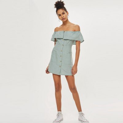 Clothing Women Off Shoulder Dresses Bardot Linen Ruffle Dress